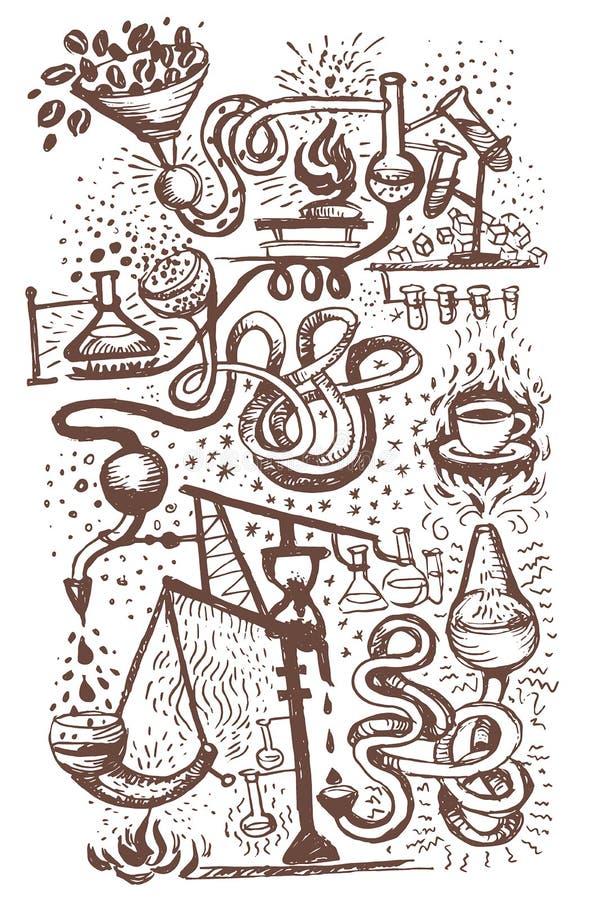 Vektorillustrationskonzept des Kaffeelabors Brown auf weißem Hintergrund stock abbildung
