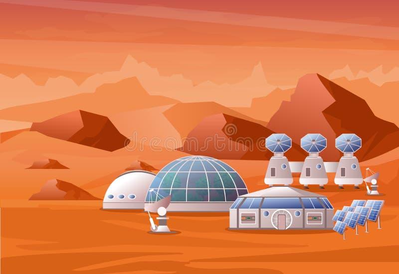 Vektorillustrationskonzept des Mars-Besiedlungsauftrags Mars-Landschaft mit Bergen Das Haus für Menschen auf dem Rot lizenzfreie abbildung