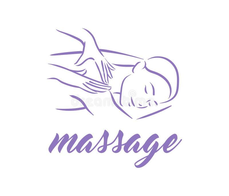 Vektorillustrationskonzept des Massagekörpers entspannen sich Symbolikone auf weißem Hintergrund lizenzfreie abbildung