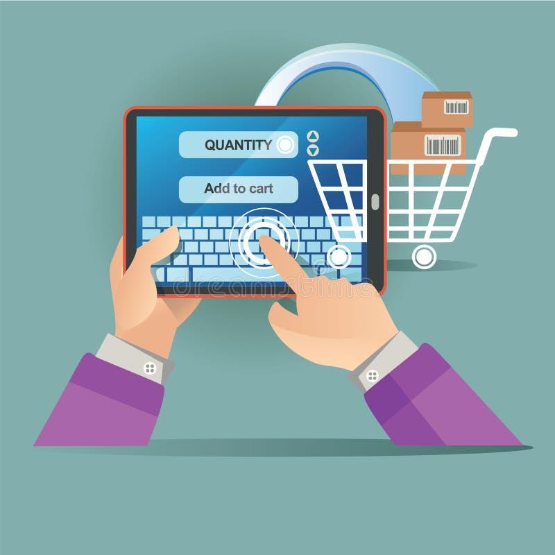 Vektorillustrationskonzept für auf Linie Speicher Digital-Marketing Kauf auf Zeile Bewegliche Zahlung lizenzfreie abbildung