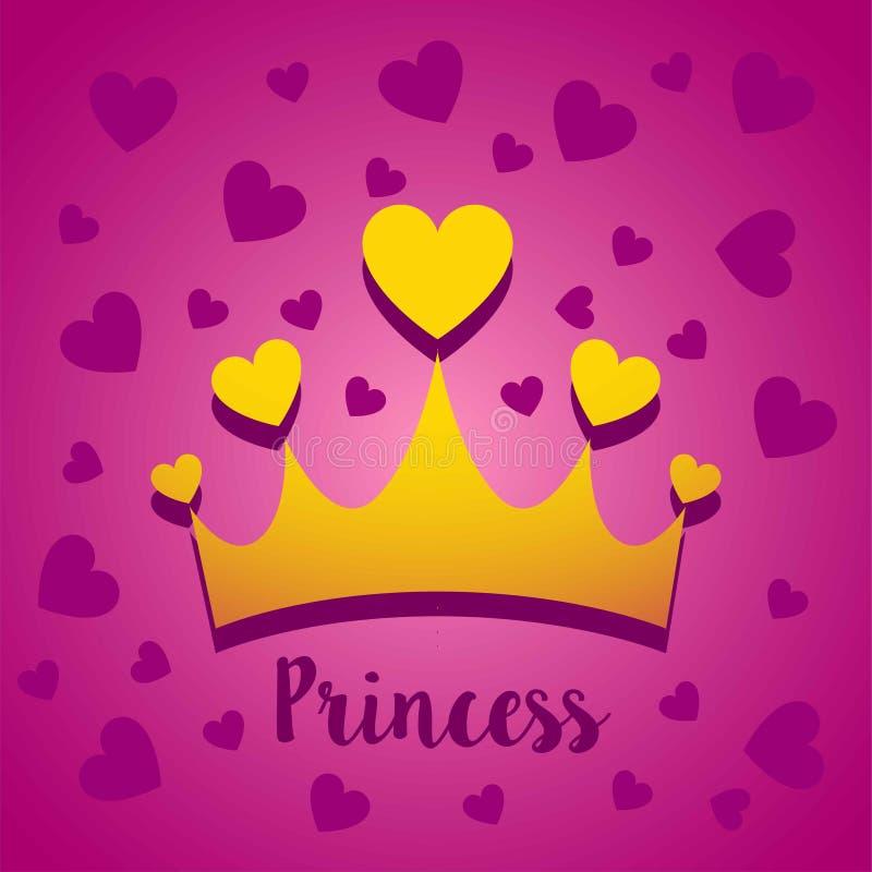 Vektorillustrationskonzept von Prinzessinkrone mit Herzen Ikone auf rosa Hintergrund lizenzfreie abbildung