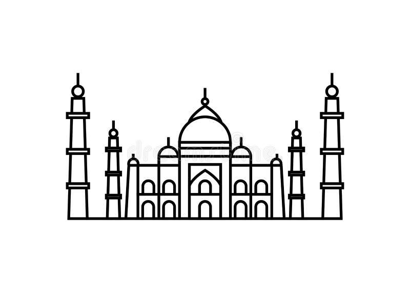 Vektorillustrationskonzept von Taj Mahal-Ikone Schwarzes auf weißem Hintergrund lizenzfreie abbildung