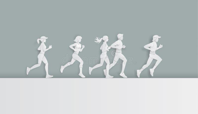 Vektorillustrationsmänner und -frauen, die Marathon laufen lassen stock abbildung