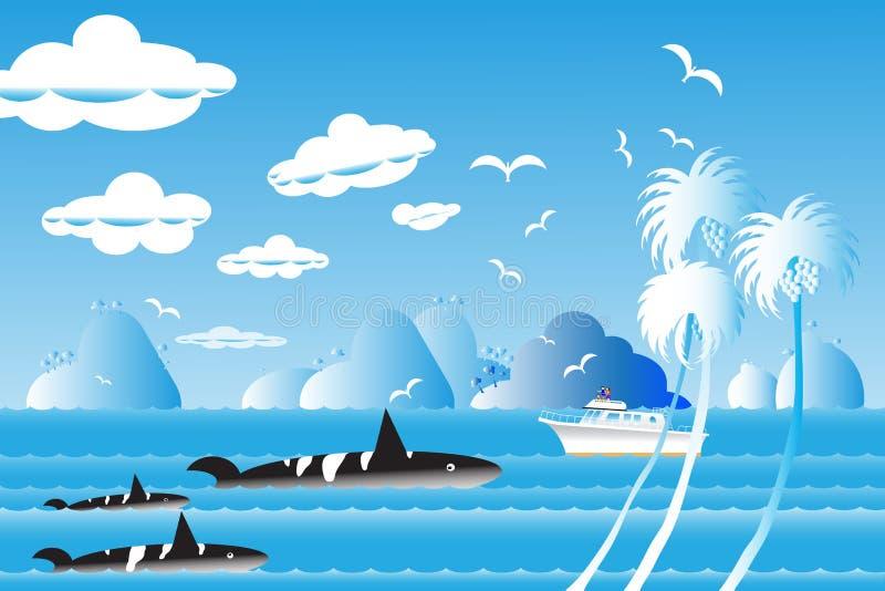 Vektorillustrationsmeerblick-Hintergrundreise über Meer mit wh stock abbildung
