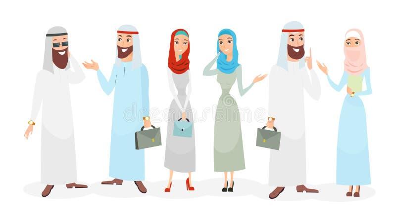Vektorillustrationssatz arabische moslemische Geschäftsmann- und Geschäftsfrauunterhaltung Moslemische Leuteteamwork Arabische Ze stock abbildung
