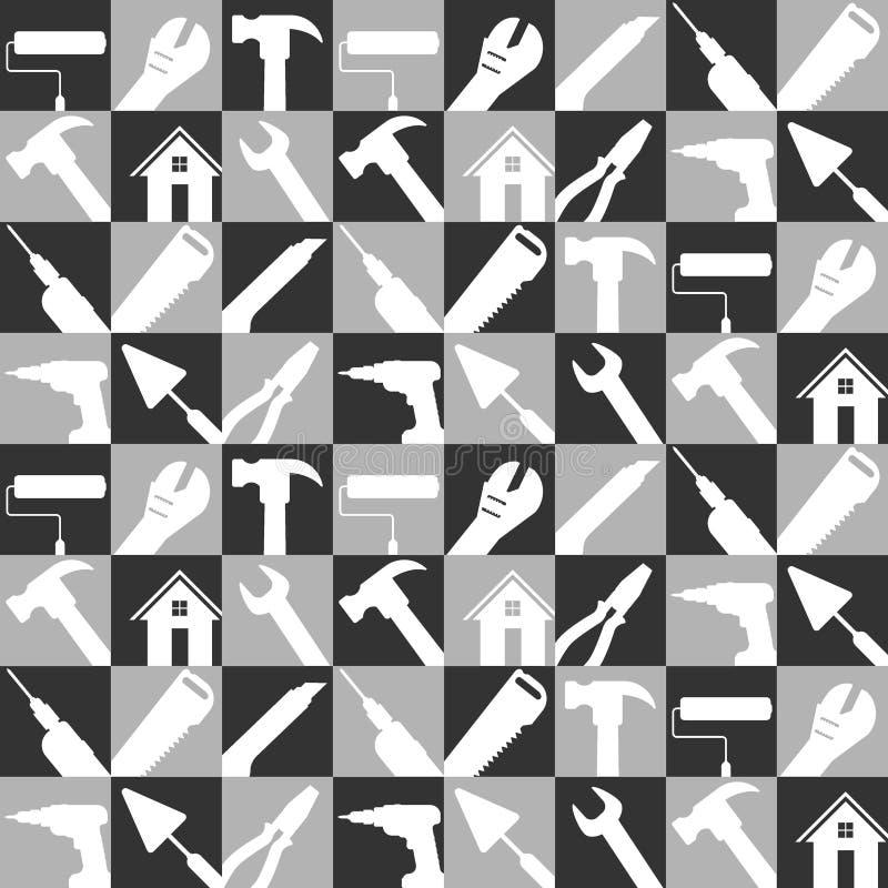Vektorillustrationssatz auf Lager der Hauptreparatur bearbeitet Ikonen Baugebäudewerkzeuge für Hintergrund Schwarzweiss-Farbe vektor abbildung