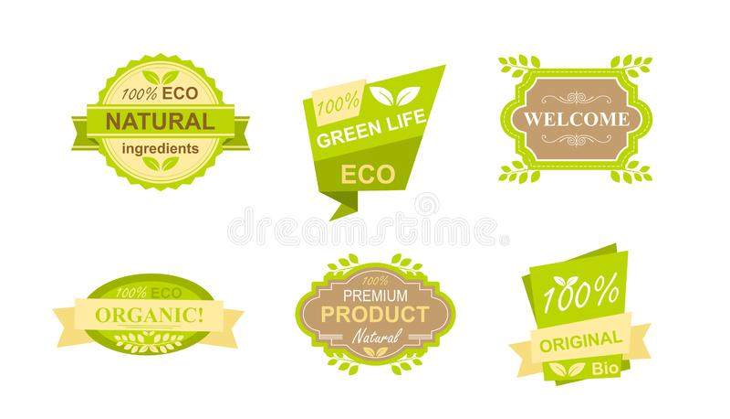 Vektorillustrationssatz Aufkleber und Ausweise für natürliches biologisches Lebensmittel, bewirtschaften frische Produkte, Restau stock abbildung