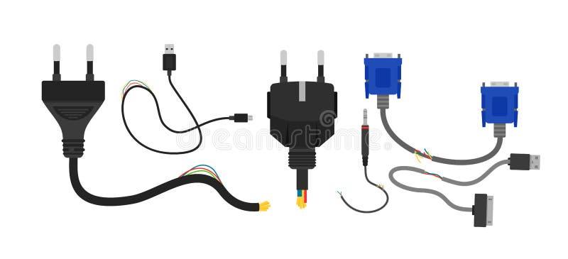 Vektorillustrationssatz defekte elektrische Leitungen lokalisiert auf weißem Hintergrund Sammlung Kabel und Drähte in der Ebene stock abbildung