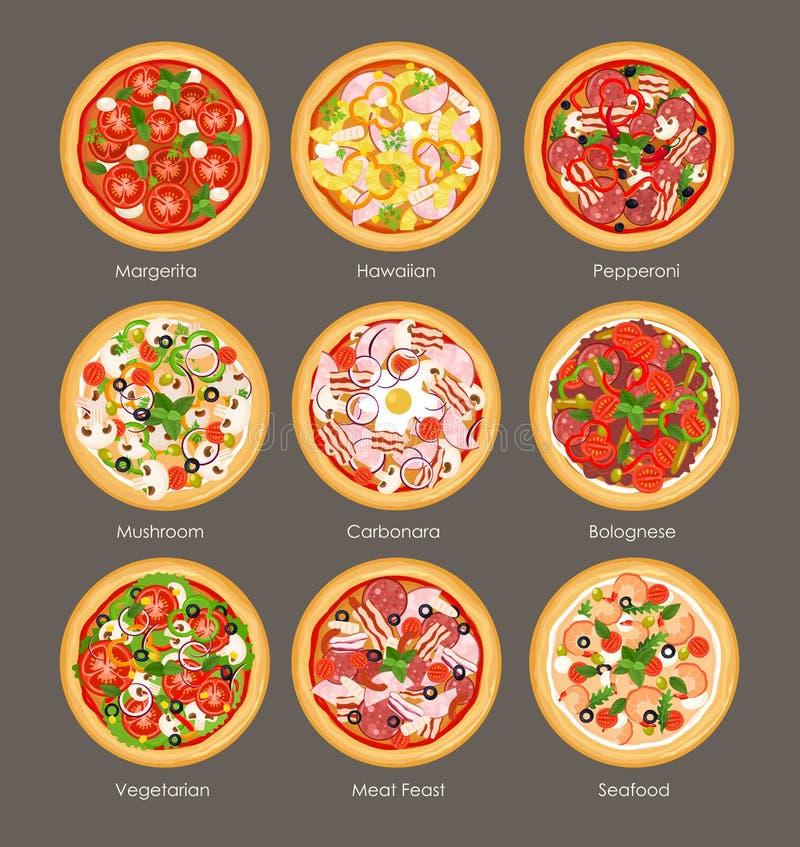 Vektorillustrationssatz der Draufsicht der unterschiedlichen Pizza mit Bestandteilen Italienische geschmackvolle und helle Farben vektor abbildung