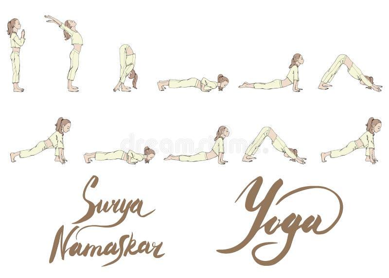 Vektorillustrationssatz eines übenden Yoga des Mädchens, verschiedene Haltungen von surya namaskar in den hellen weichen Farben p lizenzfreie abbildung