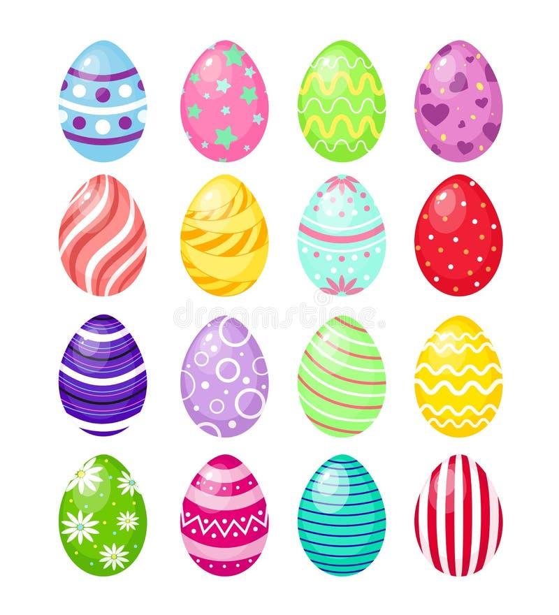 Vektorillustrationssatz Farbe-Ostereier mit Mustern, traditionelles buntes und helles Symbol von Ostern lokalisierten an stock abbildung