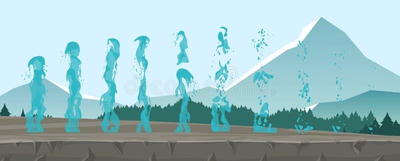 Vektorillustrationssatz Geysire, gefrorene Ströme und spritzt vom Wasser, das auf Gebirgshintergrund in der flachen Art lokalisie lizenzfreie abbildung