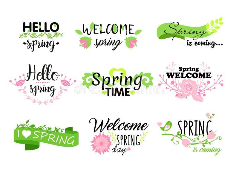Vektorillustrationssatz hallo Frühlingsbeschriftungstypographie Kalligraphiepostkartenelemente, Blumen, Blätter, Frühling stock abbildung