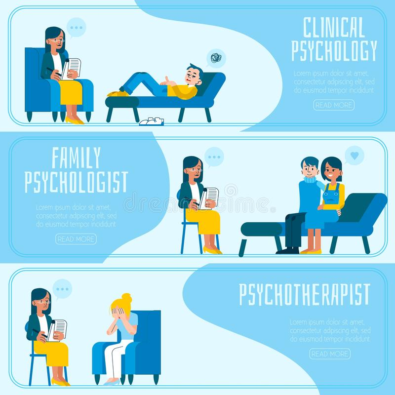 Vektorillustrationssatz horizontale Fahnen der Psychotherapie und der Psychologie stock abbildung