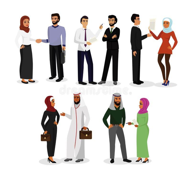 Vektorillustrationssatz moslemische Mann- und Frauencharaktere, die, Geschäft zusammen machend sprechen Arabische Geschäftsleute stock abbildung
