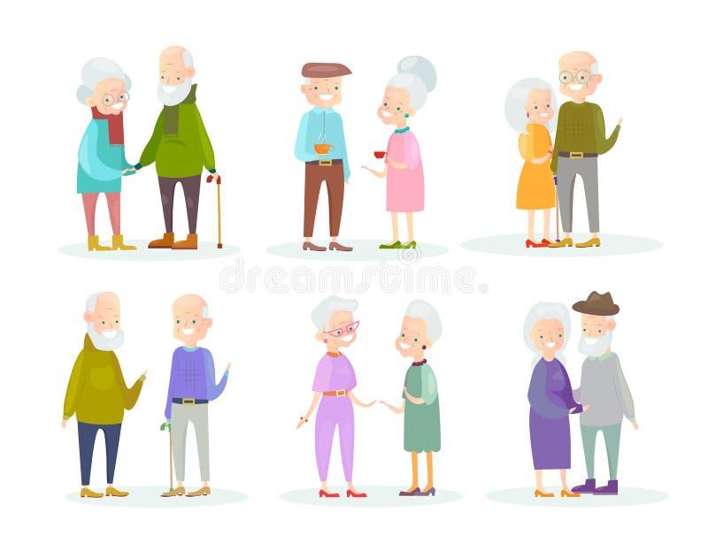 Vektorillustrationssatz nette und nette Paare der alten Leute in den verschiedenen Situationen und Haltungen auf weißem Hintergru lizenzfreie abbildung