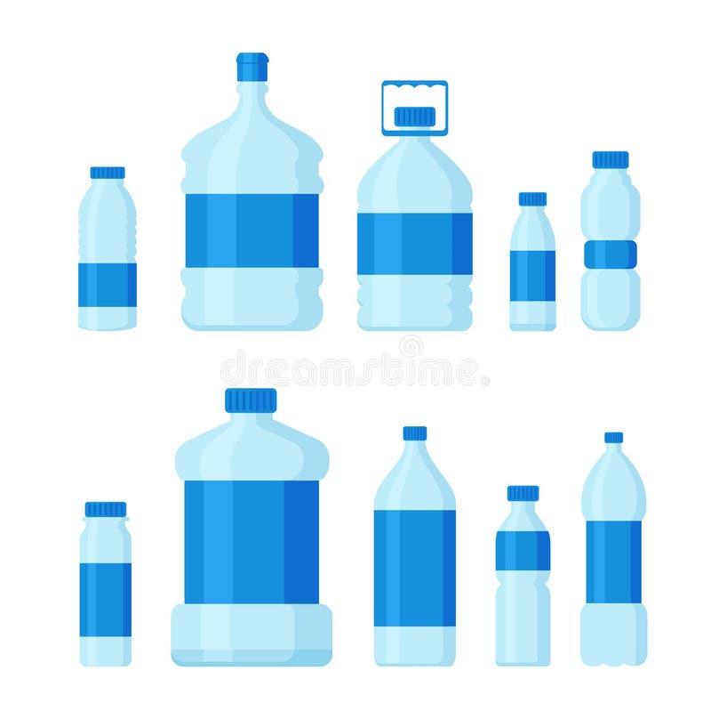 Vektorillustrationssatz Plastikflaschen, Leercontainer für flüssiges und Trinkwasser in der flachen Karikaturart lizenzfreie abbildung