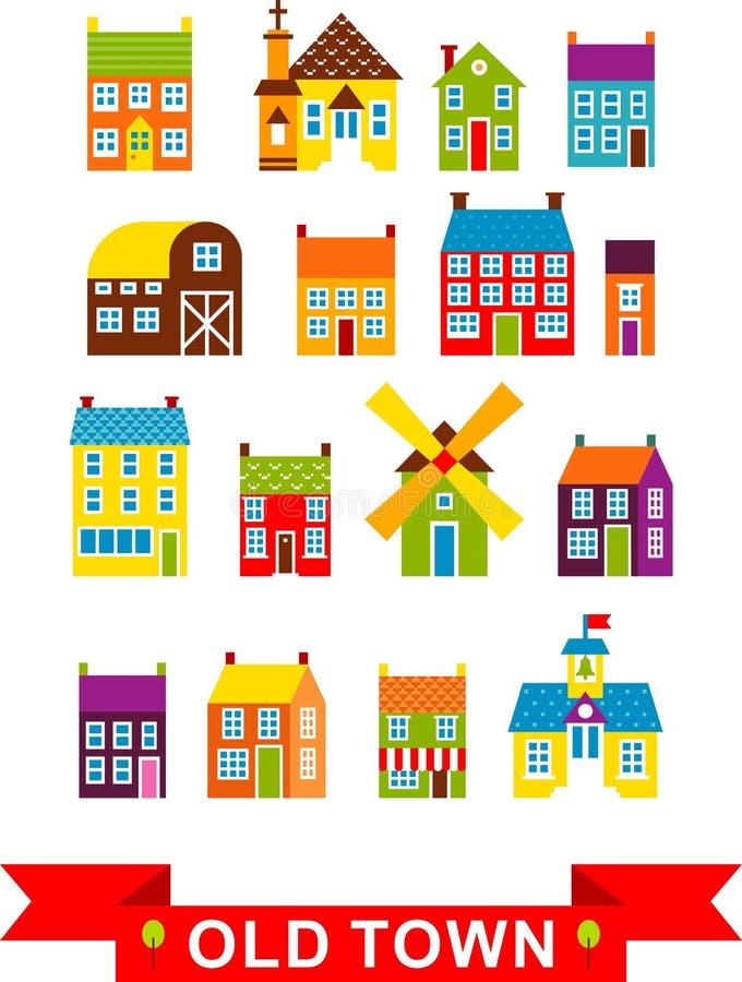 Vektorillustrationssatz Stadthäuser stock abbildung