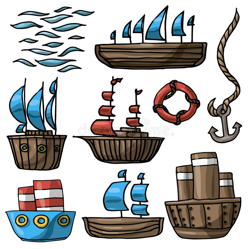 Vektorillustrationssatz verschiedene Karikaturschiffsrettungsring-Ankermeereswellen lizenzfreie abbildung