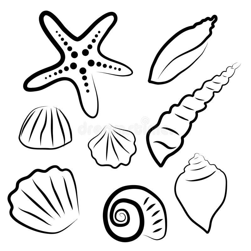 Vektorillustrationssatz verschiedene Seeoberteile vektor abbildung