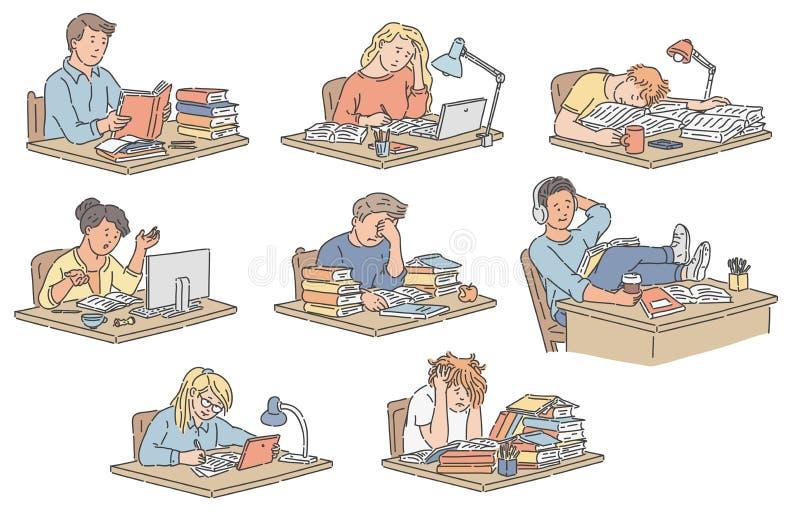 Vektorillustrationssatz verschiedene Studenten, die bei Tisch das Ablesen und das Studieren sitzen lizenzfreie abbildung