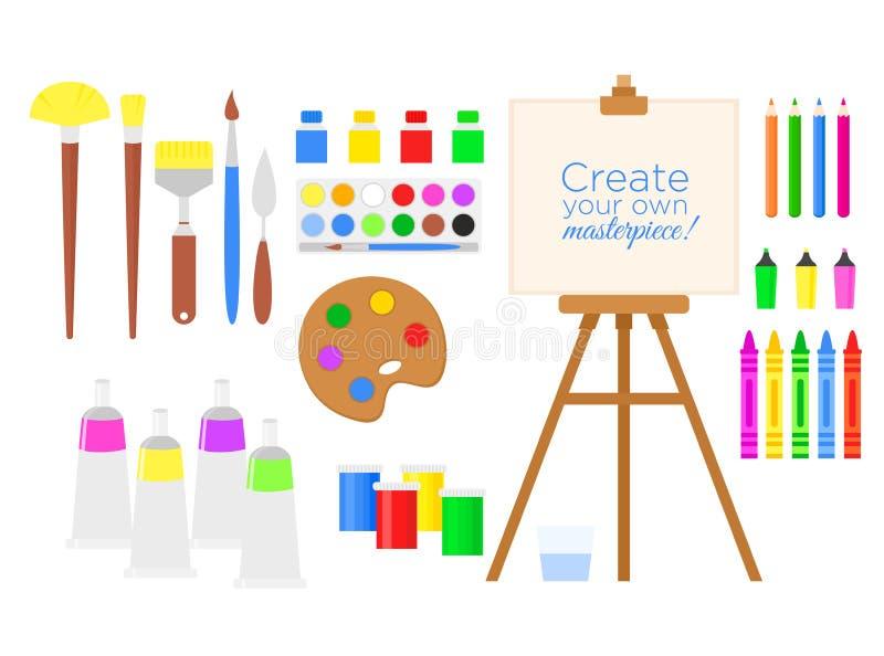 Vektorillustrationssatz Werkzeuge und Materialien für Kreativität und Malerei, Farbe, Gestell und Bürsten Zeicheninventar lizenzfreie abbildung