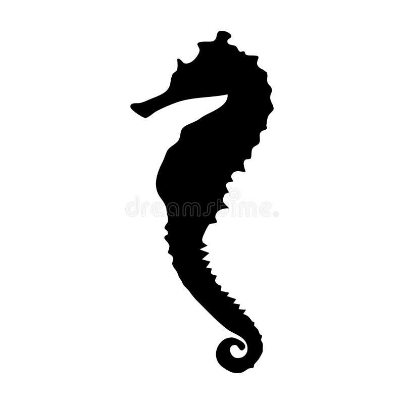Vektorillustrationsschwarz-Schattenbildseepferdchen lizenzfreies stockfoto