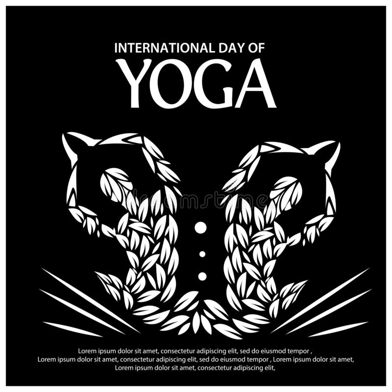 Vektorillustrationsschwarzhintergrund für das Feiern des internationalen Yoga-Tages vom 2. Juni Entwürfe für Plakate, Hintergründ vektor abbildung