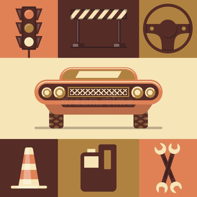 Vektorillustrationsymbolen ställde in av bilen, trafikljus, fara, styrninghjulet, trafikkotten, bränsle, reparation vektor illustrationer