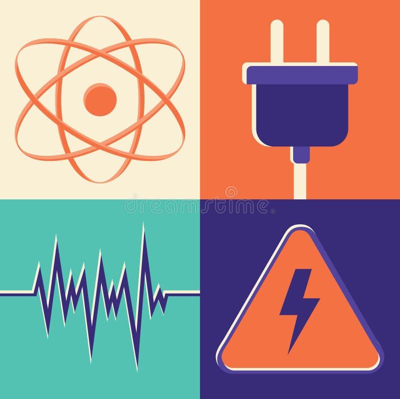 Vektorillustrationsymbolen ställde in av energi: molekyl hålighet, våg, fara stock illustrationer