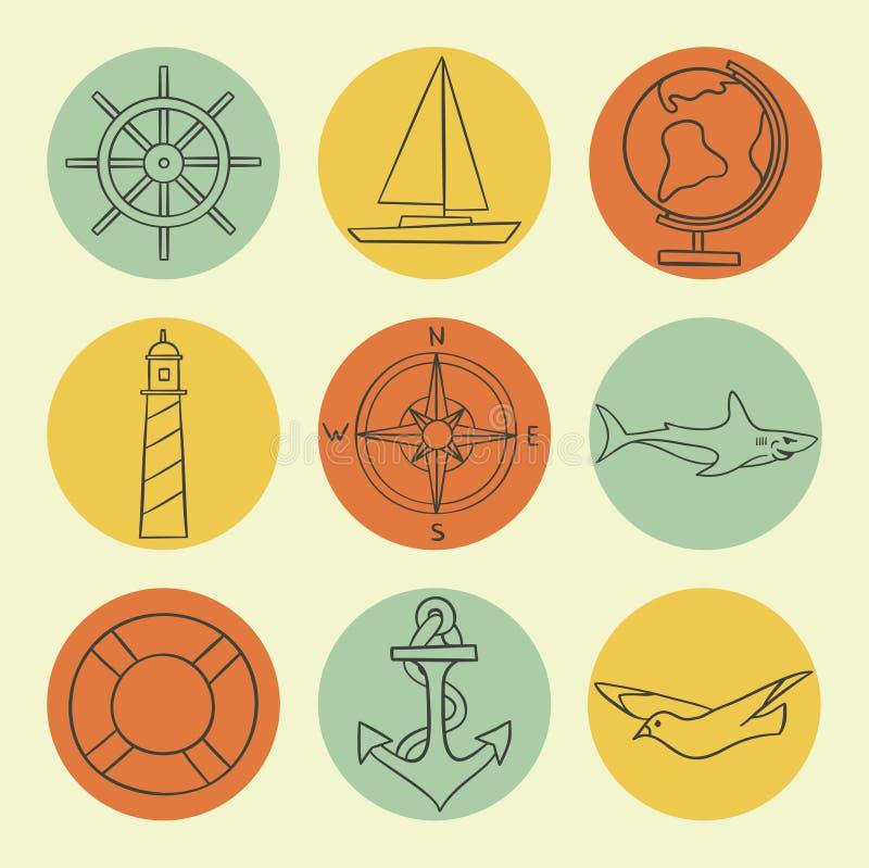 Vektorillustrationsymbolen ställde in av havet: räddningslina kompass, jordklot, fyr, skepp, seagull, styrninghjul, ankare, haj stock illustrationer