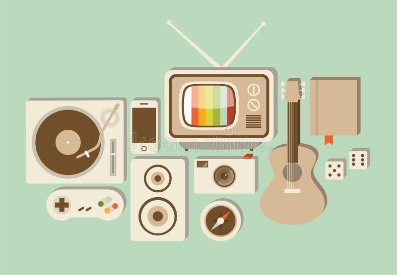 Vektorillustrationsymbolen ställde in av livsstil: skivtallrik modig styrspak, högtalare, telefon, fotokamera, TV, kompass, gitar royaltyfri illustrationer