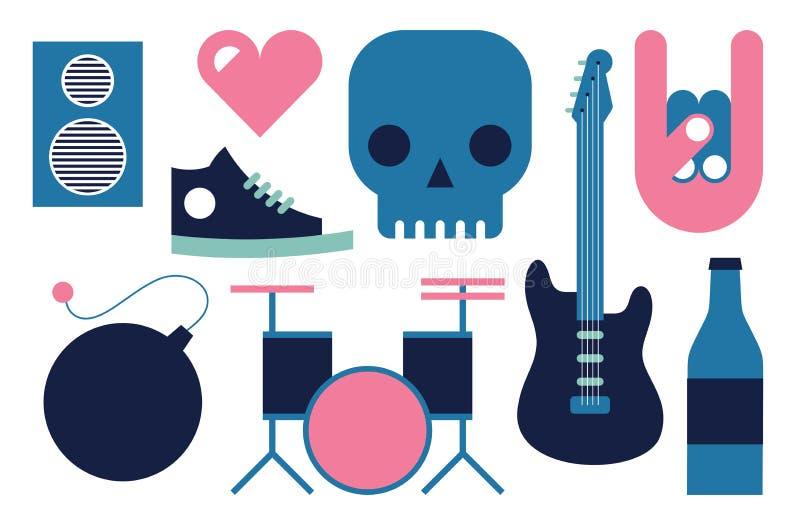 Vektorillustrationsymbolen ställde in av Rock n rulle: högtalaren hjärta, skallen, gitarren, handen, skor, bombarderar, trummar,  royaltyfri illustrationer