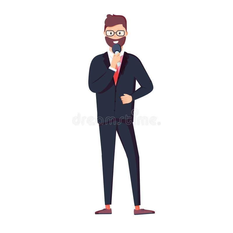 Vektorillustrationtecken av den smarta affärsmannen, den hållande mikrofonen, anseendet och samtal Plan designillustration vektor illustrationer