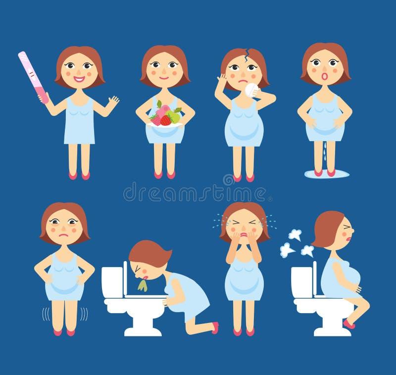 Vektorillustrationtecken av havandeskaptecken - toxemi av havandeskap, bulnad, emotionell ostadighet, mageproblem Mamma och vektor illustrationer