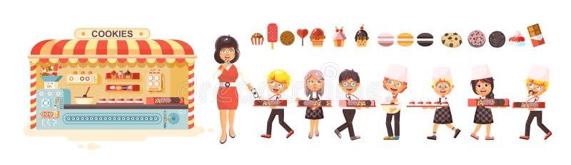 Vektorillustrationtecknade filmen isolerade teckenbarn, elever, skolpojkar, skolflickaaffärsförsäljning av bakning royaltyfri illustrationer
