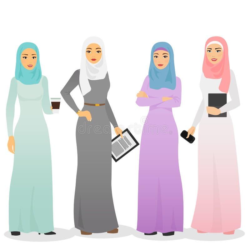 Vektorillustrationuppsättning av arabiska kvinnatecken för affär med hijab Muslimskt kvinnligt folk vektor illustrationer