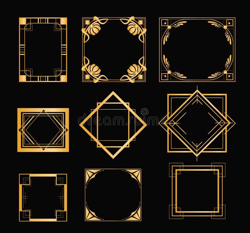 Vektorillustrationuppsättning av art décoramar i guld- färg Tappningbeståndsdelar i stil av 20-tal för din design på svart stock illustrationer
