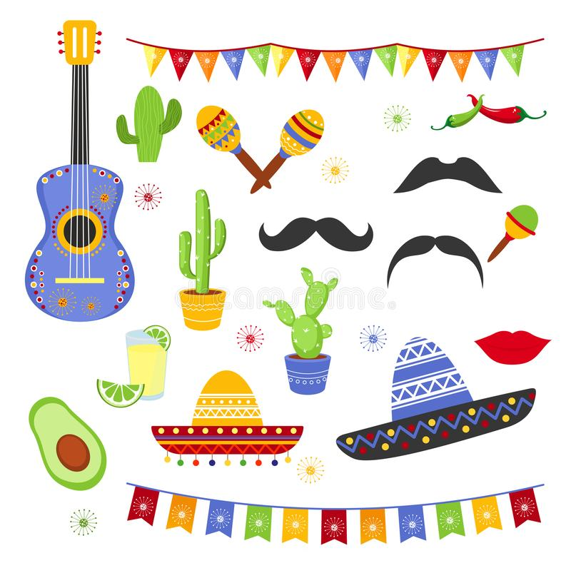 Vektorillustrationuppsättning av dekorativa beståndsdelar för Fiesta Samling av den Cinco de Mayo designen, plan tecknad filmstil royaltyfri illustrationer