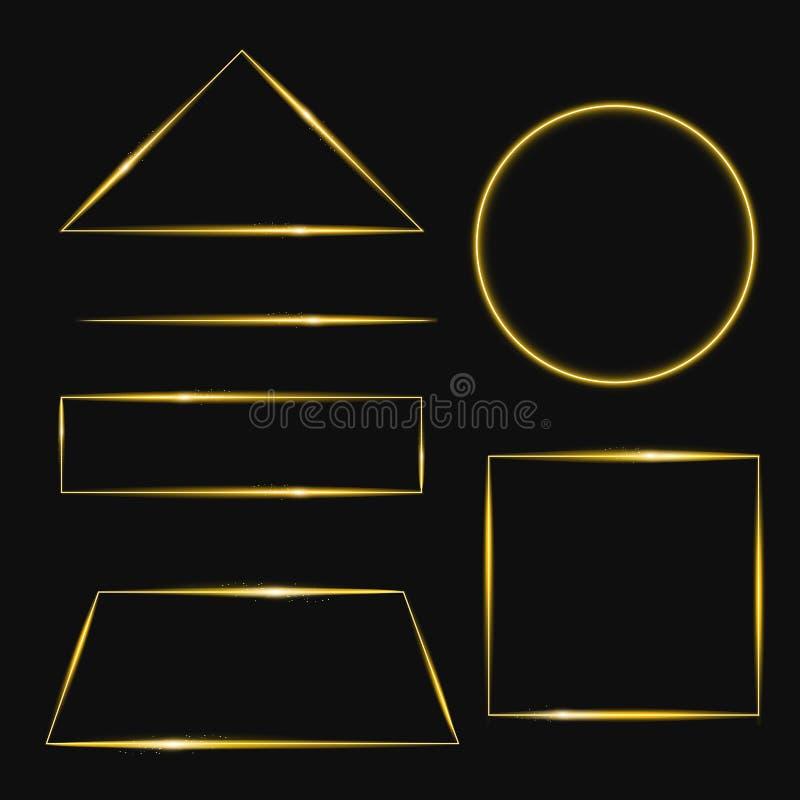 Vektorillustrationuppsättning av den guld- ramen med ljuseffekter i olika former Glänsande rektangelbaner På vektor illustrationer