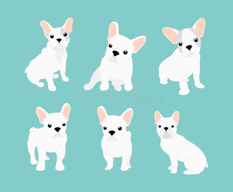 Vektorillustrationuppsättning av den gulliga lilla vita franska bulldoggen Lyckliga och roliga bilder av bulldoggvalpen i olikt vektor illustrationer