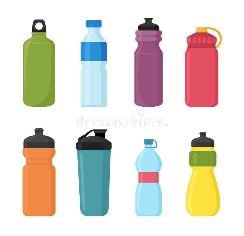Vektorillustrationuppsättning av den plast- flaskan för cykel för vatten i olika shaps och färger Behållarevattenflaskor för vektor illustrationer