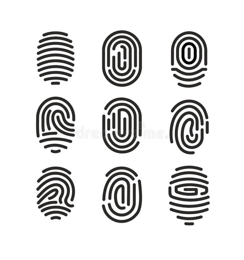 Vektorillustrationuppsättning av fingeravtrycksymboler på vit bakgrund i minimalist stil royaltyfri illustrationer