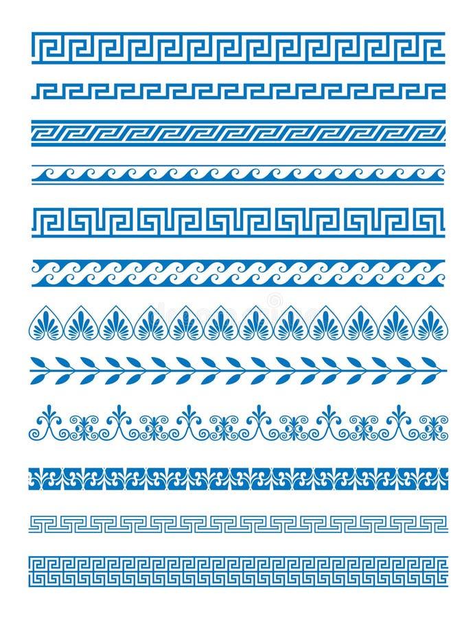 Vektorillustrationuppsättning av grekmodeller och prydnader på vit bakgrund Dekorativ beståndsdeluppsättning för våg och för slin royaltyfri illustrationer