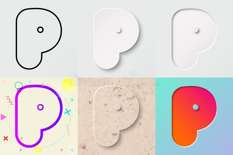 vektorillustrationuppsättning av gullig djärv rundad bokstav p med olik lutningeffekt och genomskinlig skugga stock illustrationer