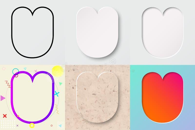 Vektorillustrationuppsättning av gullig djärv rundad bokstav u med olik lutningeffekt och genomskinlig skugga stock illustrationer