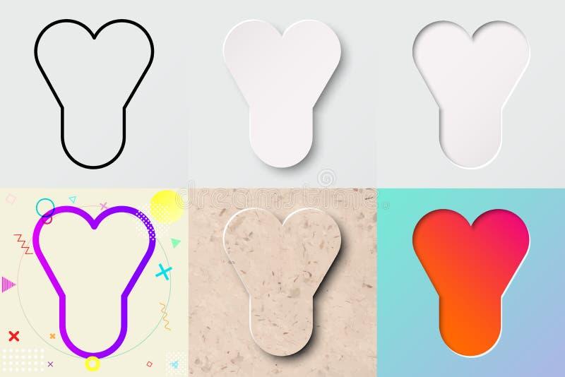 Vektorillustrationuppsättning av gullig djärv rundad bokstav y med olik lutningeffekt och genomskinlig skugga vektor illustrationer