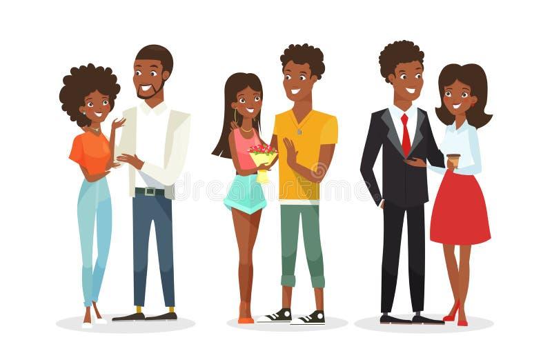 Vektorillustrationuppsättning av gulliga afrikansk amerikanpar på datumet man kvinnabarn Svarta människor familj royaltyfri illustrationer