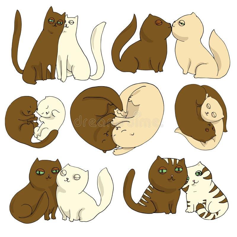 Vektorillustrationuppsättning av helgonvalentin för katter förälskade dagar, plana symboler Tecknad film i bruna och kräm- f vektor illustrationer