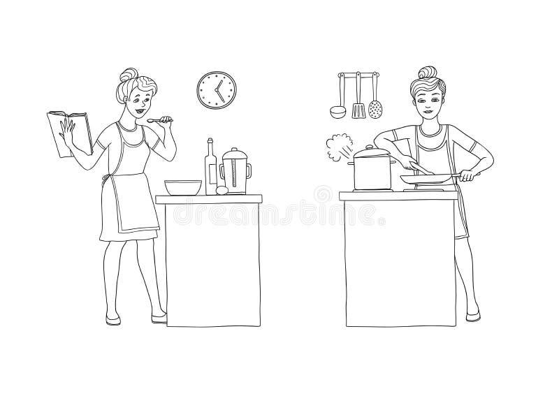 Vektorillustrationuppsättning av kvinnor som förbereder mat i köket Teckenet rymmer en kokbok med recept och royaltyfri illustrationer